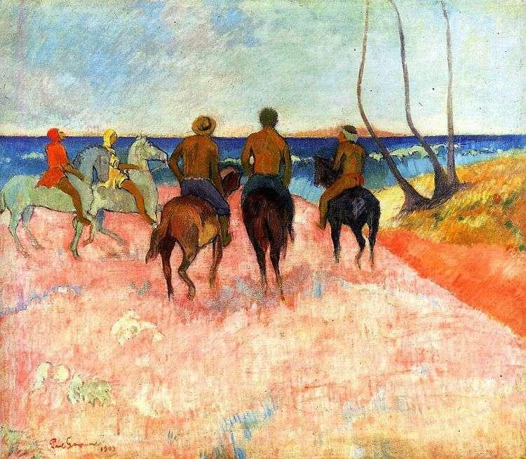 Всадники на берегу   Поль Гоген
