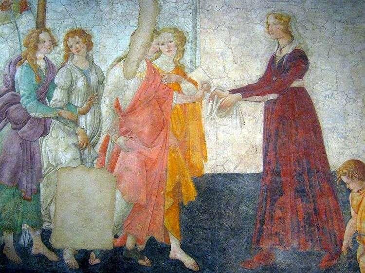 Фрески виллы Мачерелли. Молодая женщина принимает дары от Венеры и трех граций   Сандро Боттичелли