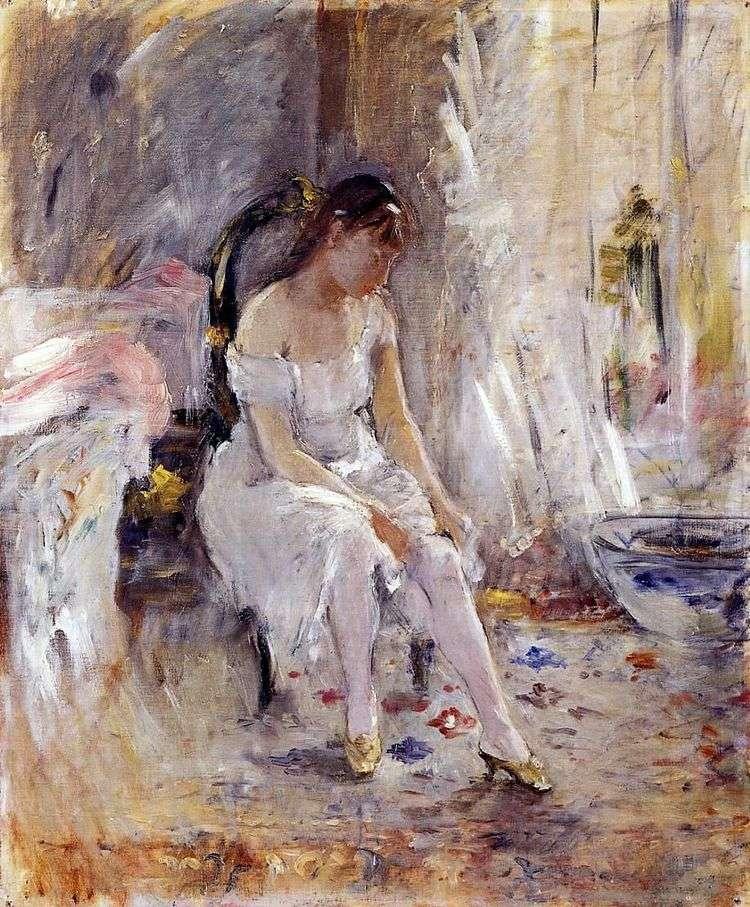 Молодая девушка, надевающая чулки   Берта Моризо