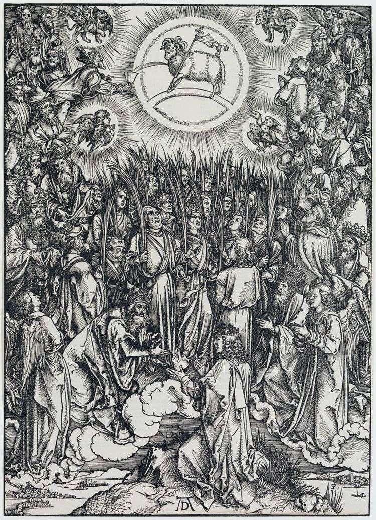 Агнец Божий и гимн Избранному. Гравюра   Альбрехт Дюрер