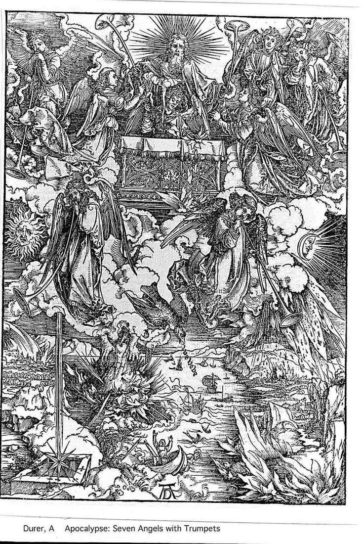 Ангелы и семь труб. Гравюра   Альбрехт Дюрер
