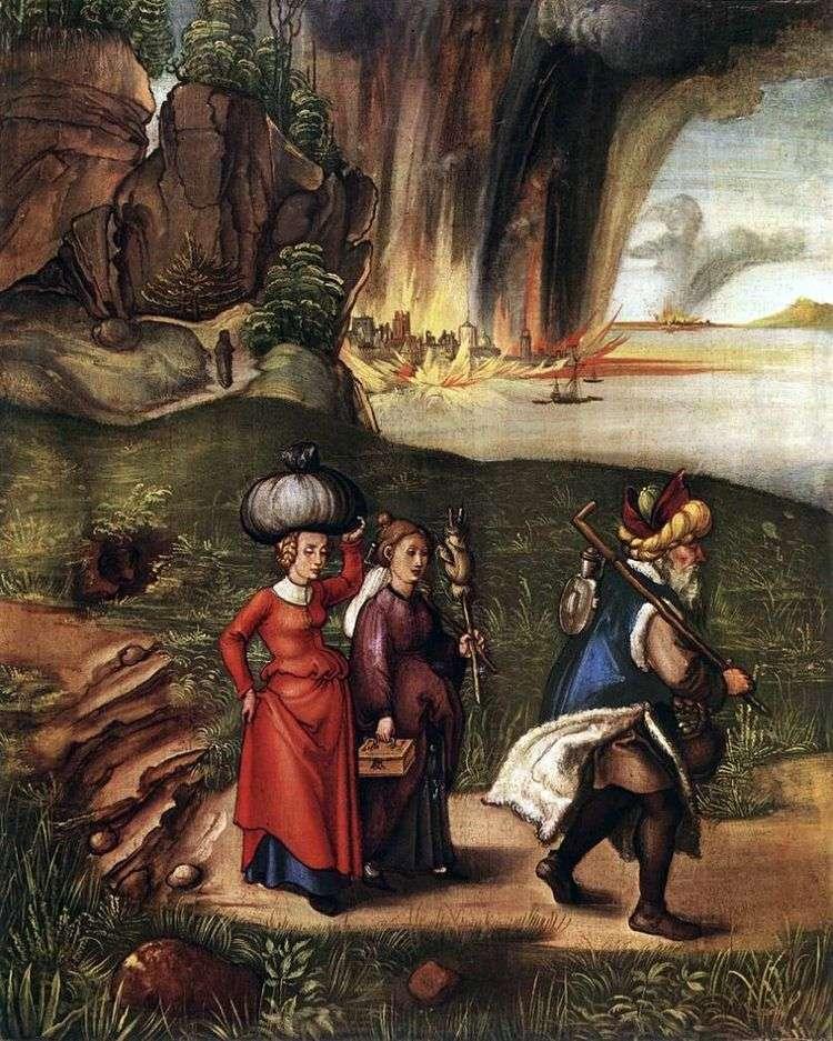 Бегство Лота с дочерьми из Содома   Альбрехт Дюрер