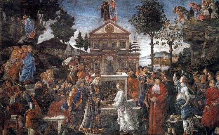 Исцеление прокаженного и искушение Христа   Сандро Боттичелли