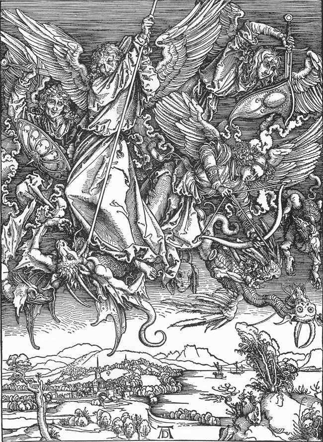 Битва архангела Михаила с драконом   Альбрехт Дюрер