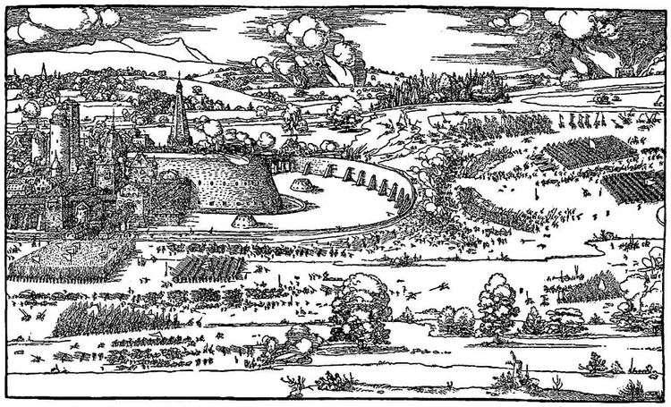 Иллюстрация из трактата Руководство к измерению циркулем и линейкой   Альбрехт Дюрер
