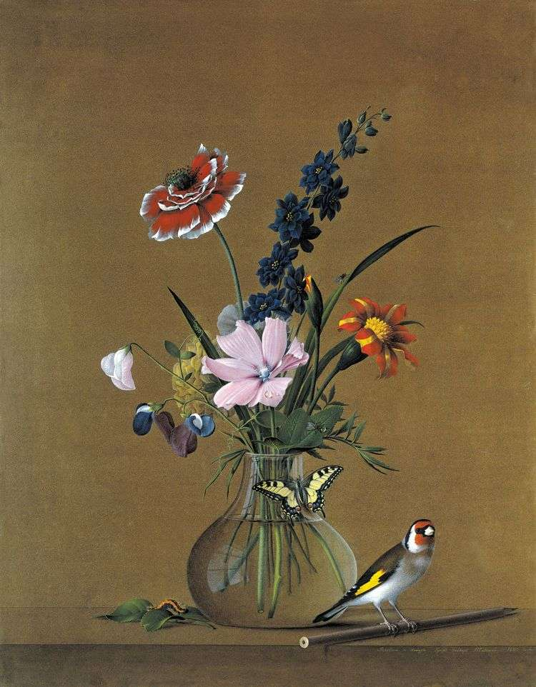 Букет цветов, бабочка и птичка   Федор Толстой