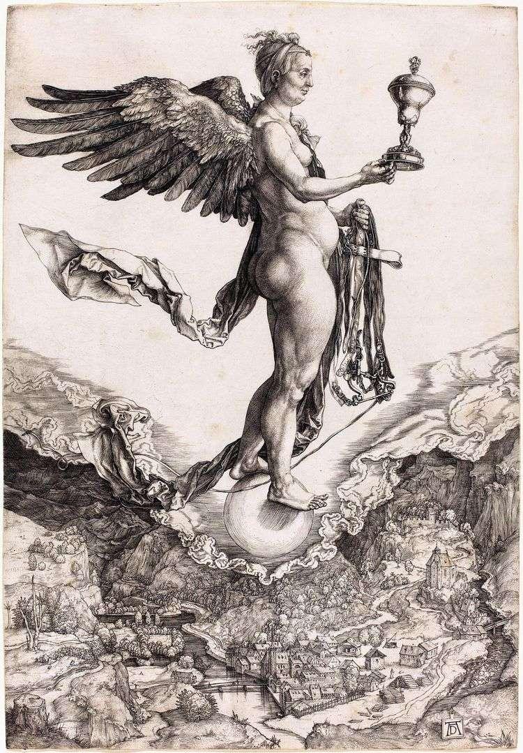 Немезида или Богиня Судьбы. Гравюра   Альбрехт Дюрер