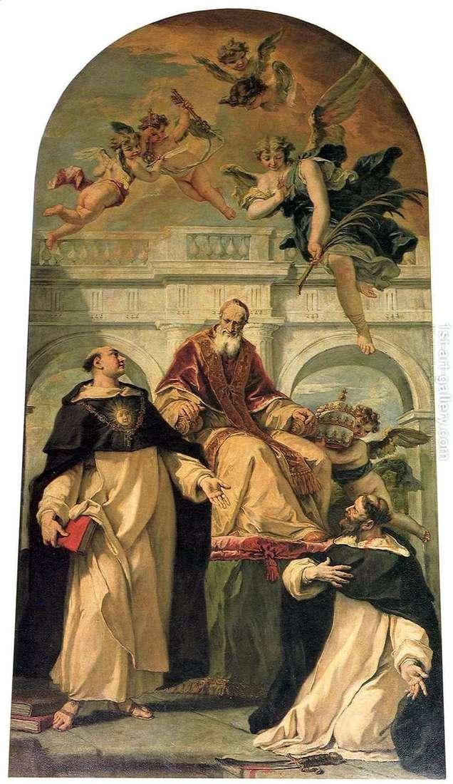 Пий V, святые Петр и Фома Аквинский   Себастьяно Риччи