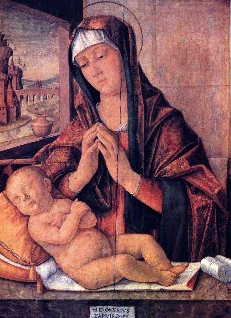Мария со спящим младенцем   Джироламо да Тревизо