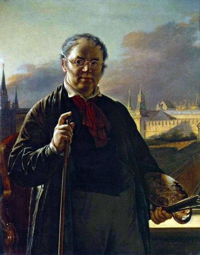 Автопортрет с кистями на фоне Московского Кремля   Василий Тропинин