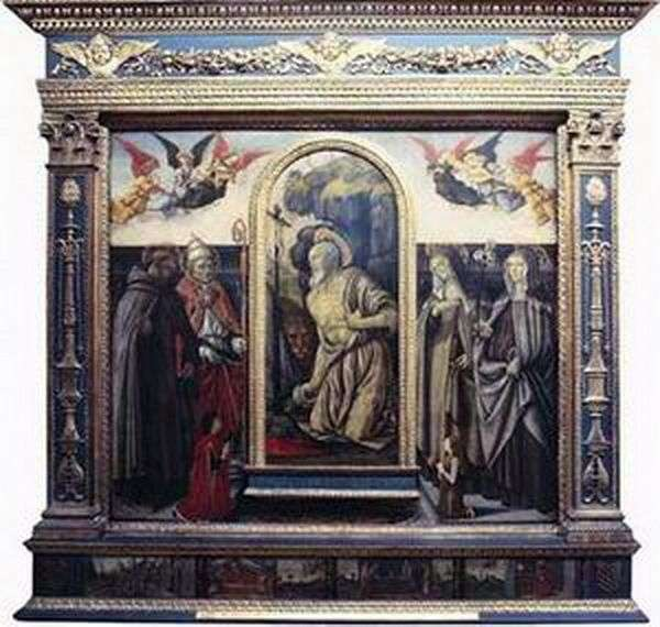Кающийся св. Иероним со святыми и донаторами   Франческо Боттичини