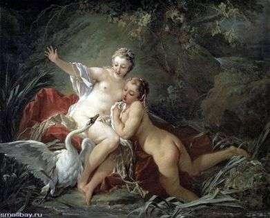 Леда и Зевс в образе лебедя   Франсуа Буше