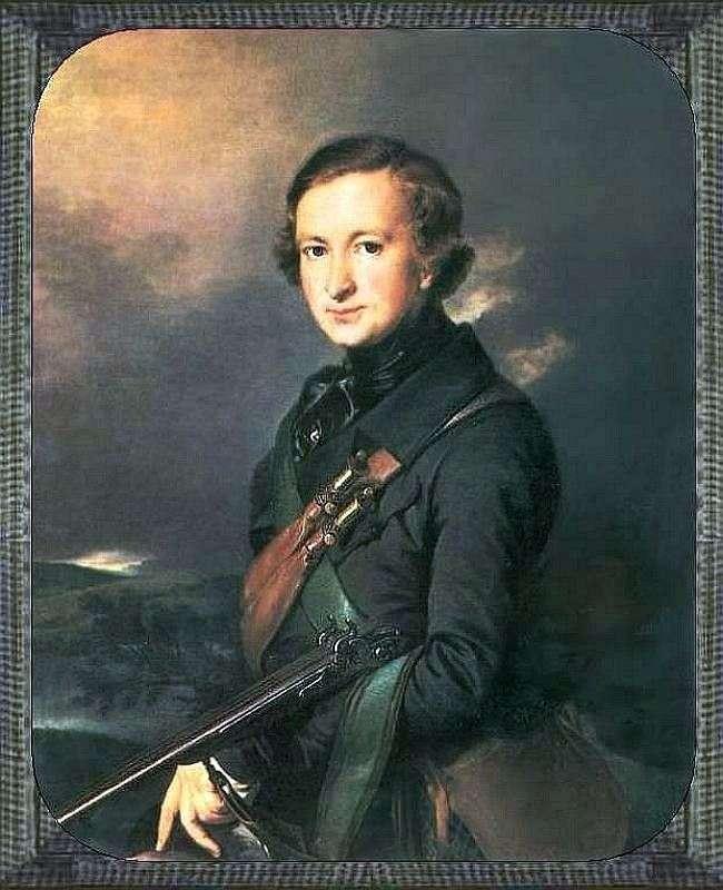 Портрет Ю. Ф. Самарина в охотнечьем костюме   Василий Тропинин