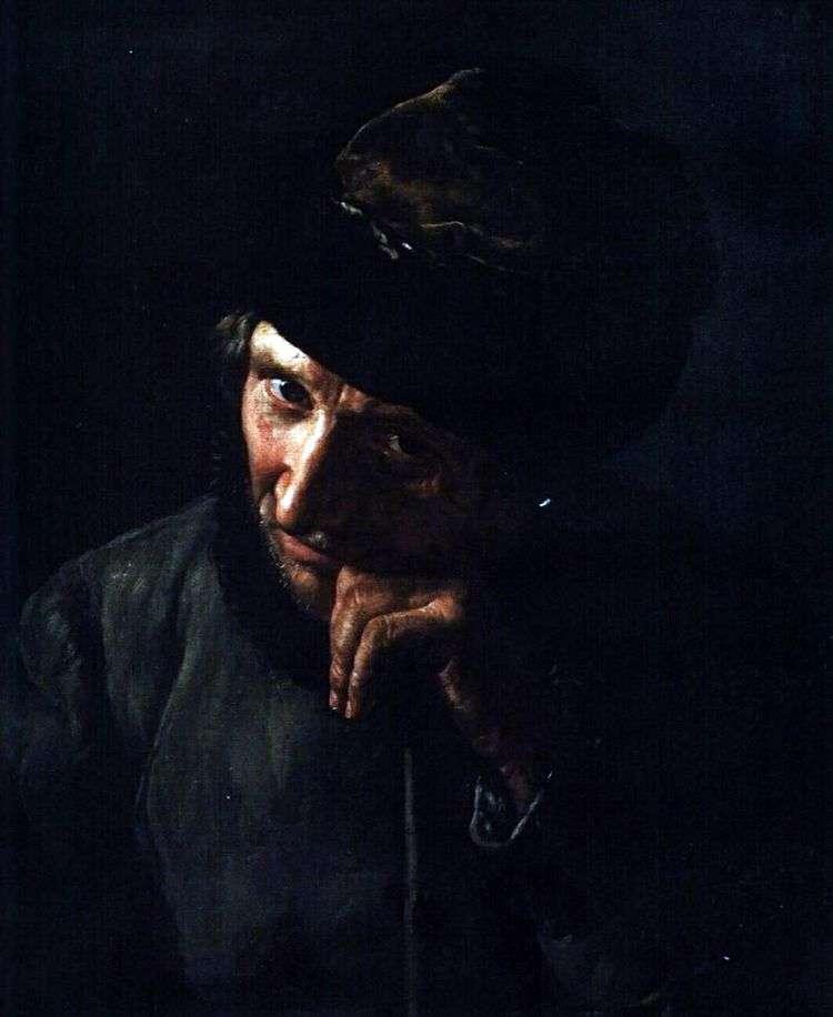 Старик ямщик, опирающийся на кнутовище   Василий Тропинин