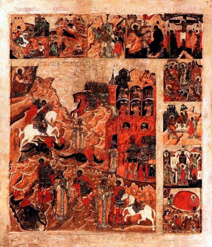 Чудо святого Георгия о змие, с 9 клеймами праздников