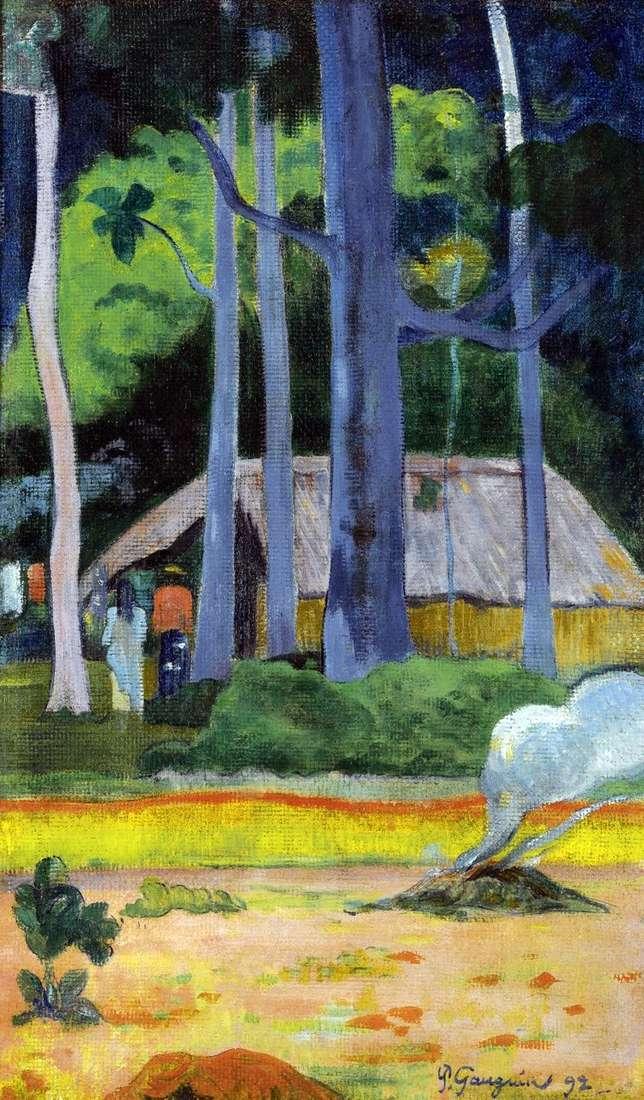 Домик под деревьями   Поль Гоген