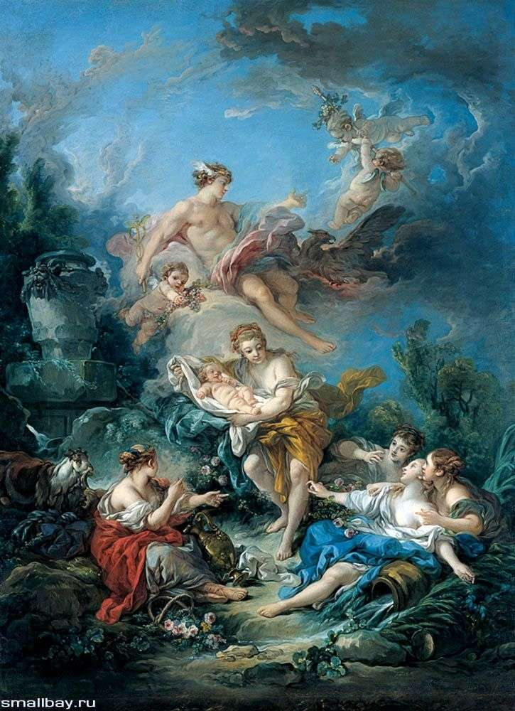 Меркурий вручает нимфам младенца Бахуса   Франсуа Буше