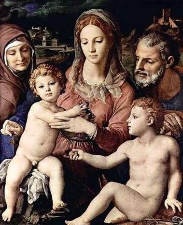 Святое семейство со святой Анной и Иоанном Крестителем   Аньоло Бронзино