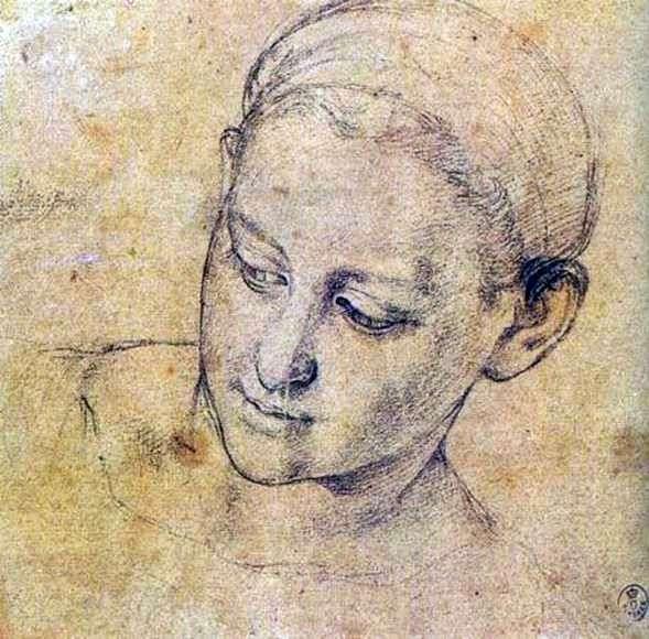 Этюд лица набожной женщины   Аньоло Бронзино