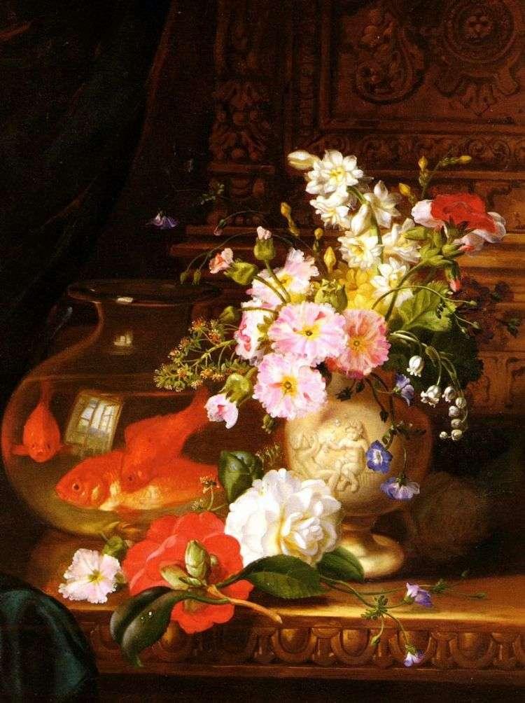 Натюрморт с камелиями, первоцветами, лилией и аквариумом с золотыми рыбками   Джон Уэйнрайт
