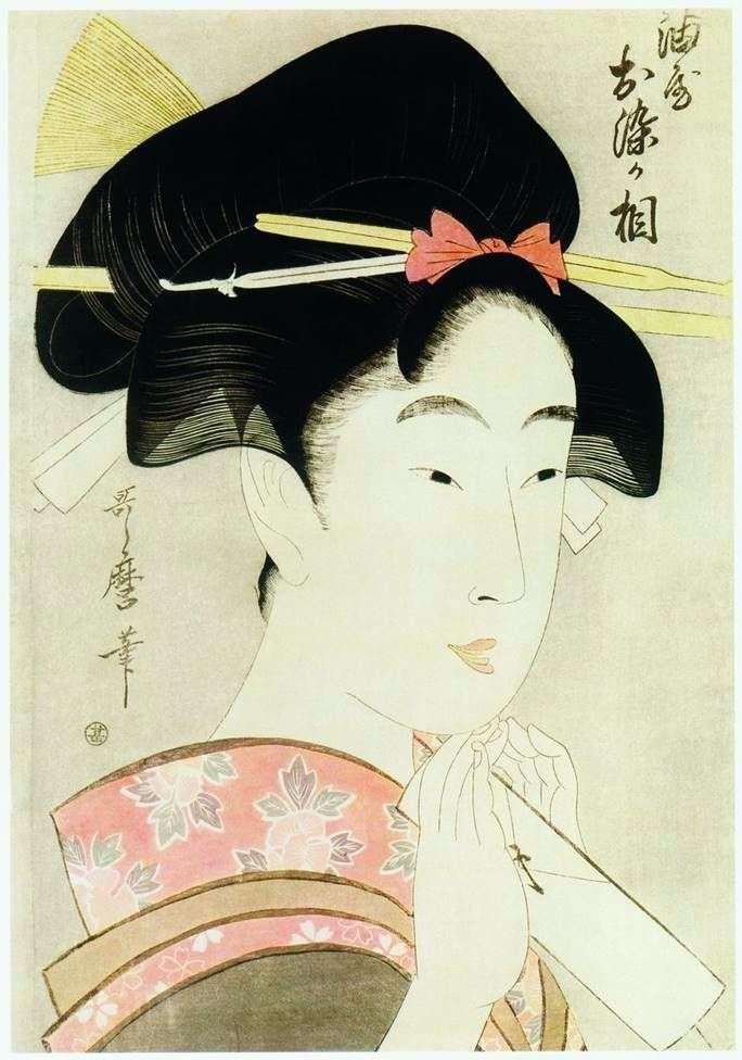Красавица Осомэ из дома Абура я   Китагава Утамаро