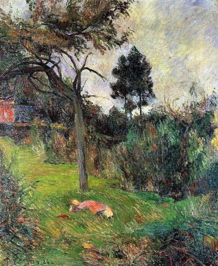 Молодая женщина, лежащая на траве   Поль Гоген