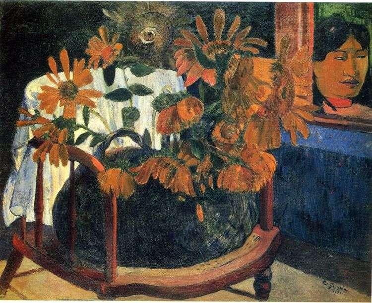 Натюрморт с подсолнухами на кресле   Поль Гоген