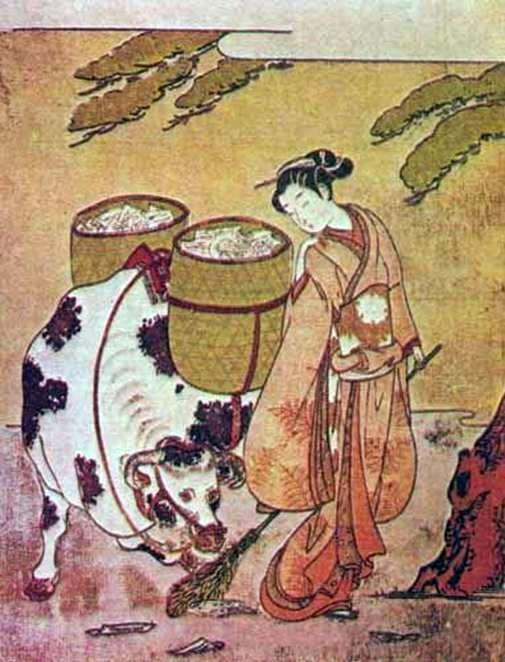 Осэн с буйволом   Судзуки Харинобу