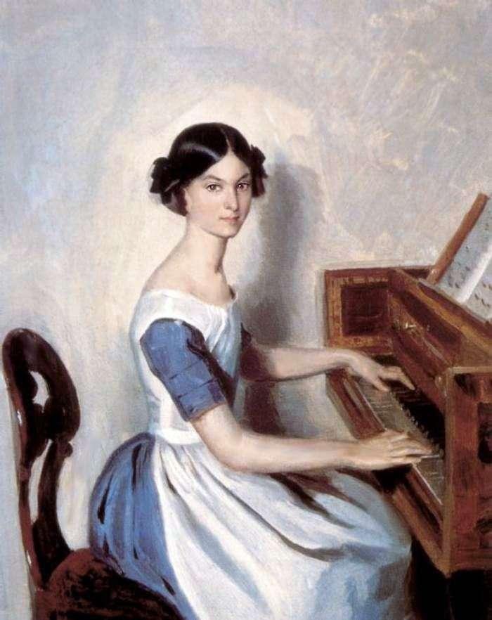 Портрет Н. П. Жданович за клависином   Павел Федотов