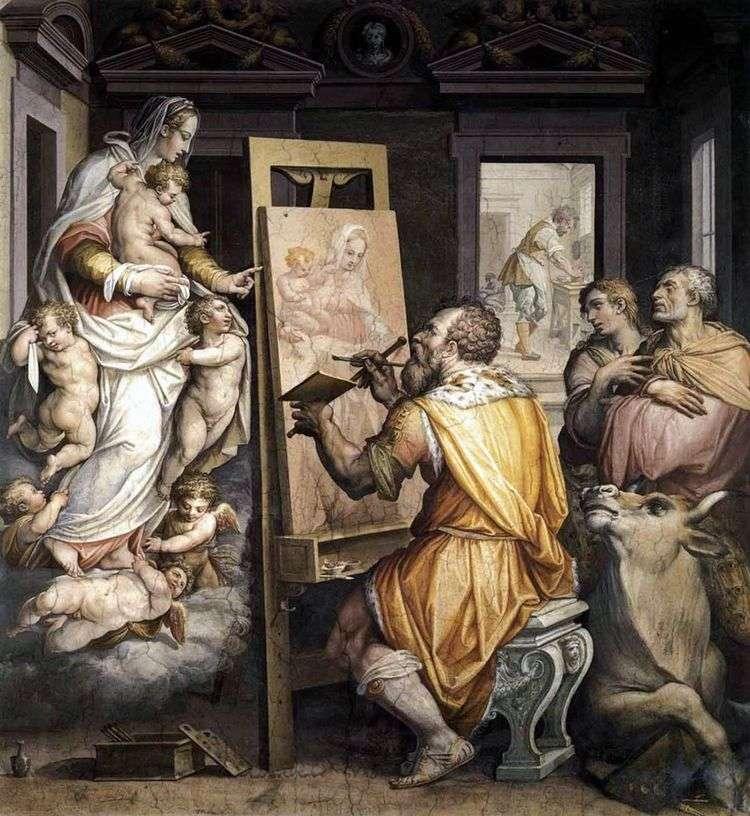 Святой Лука пишет портрет Богородицы   Джорджо Вазари