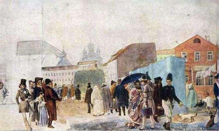 Уличная сцена в Москве во время дождя   Павел Федотов