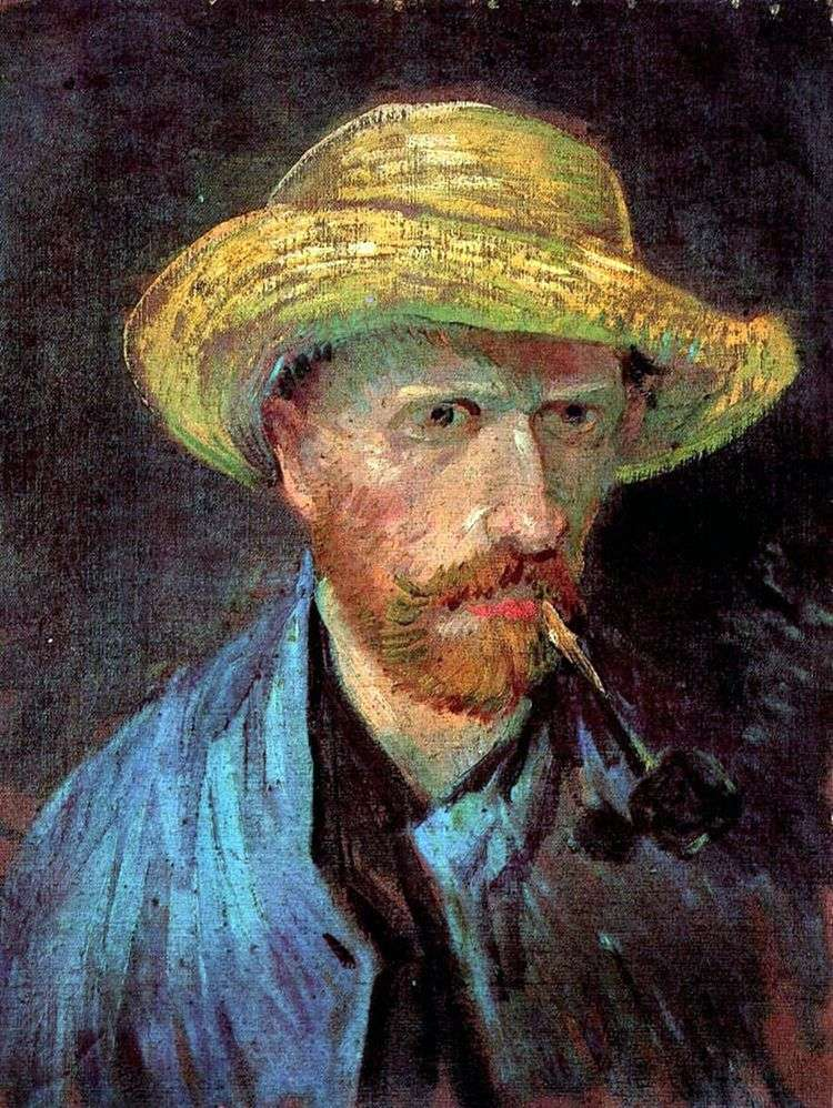 Автопортрет в соломенной шляпе с трубкой   Винсент Ван Гог