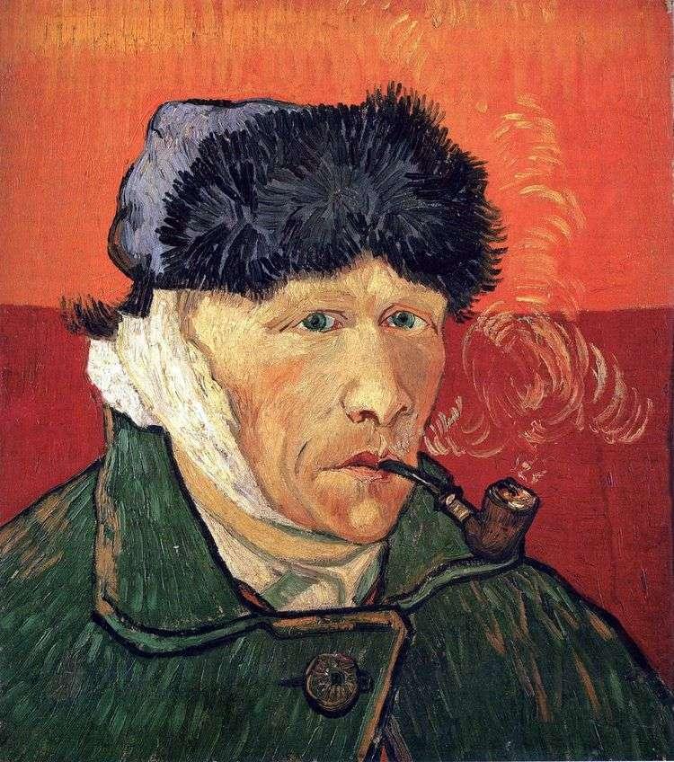 Автопортрет с перевязанным ухом и трубкой   Винсент Ван Гог