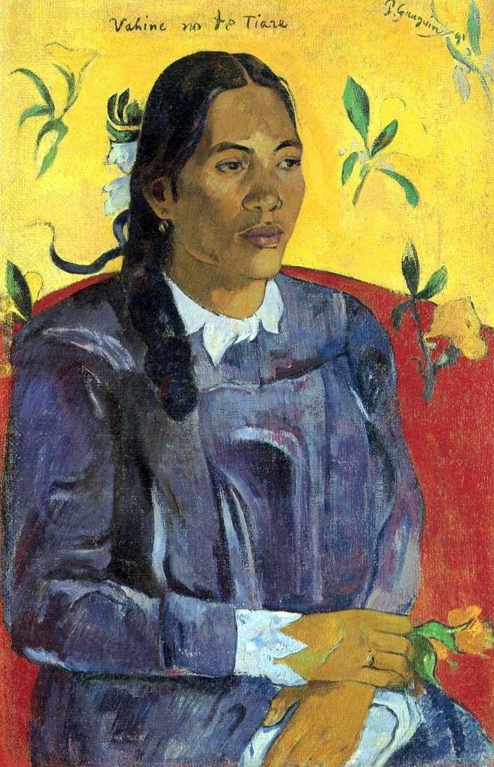 Таитянская женщина с цветком   Поль Гоген
