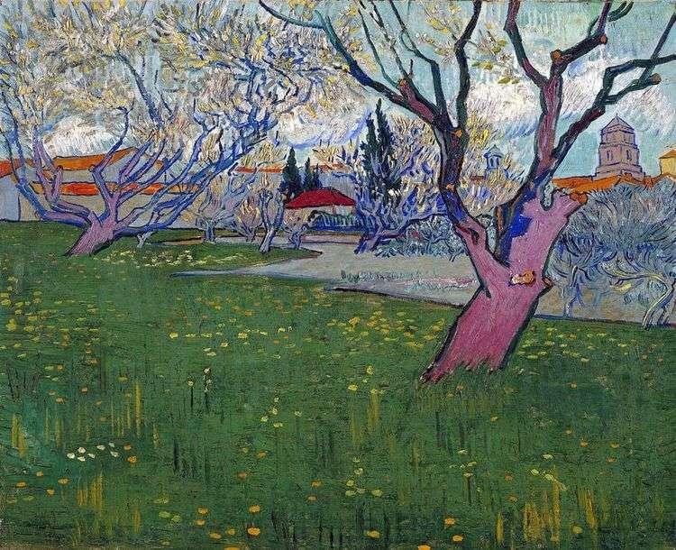 Вид на Арль среди цветущих деревьев   Винсент Ван Гог