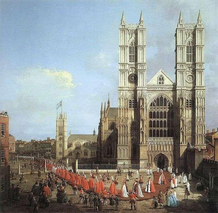 Вестминстерское аббатство и процессия рыцарей   Антонио Каналетто