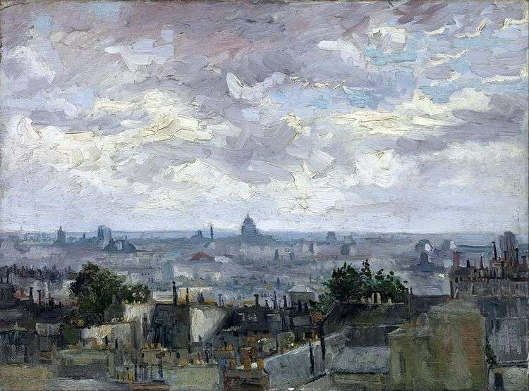 Вид на крыши Парижа   Винсент Ван Гог