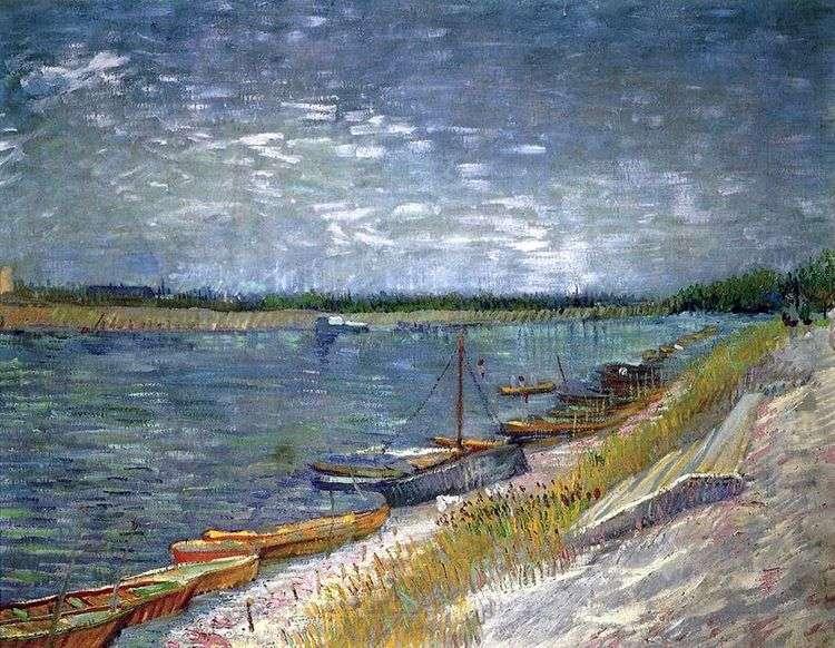 Вид на реку с весельными лодками   Винсент Ван Гог