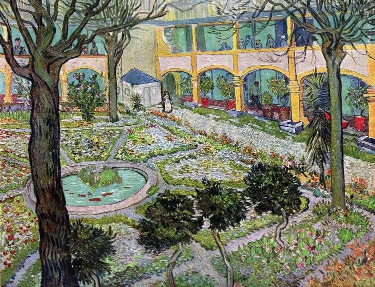 Внутренний двор госпиталя в Арли   Винсент Ван Гог
