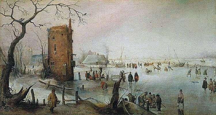 Зимний пейзаж с башней   Хендрик Аверкамп