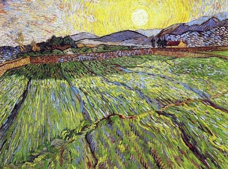 Вспаханное поле с восходящим солнцем   Винсент Ван Гог