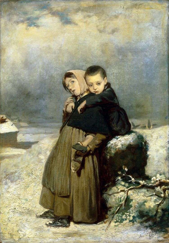 Дети сироты на кладбище   Василий Перов