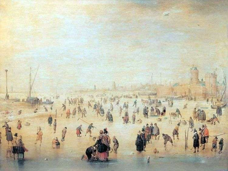 Катание на коньках за городскими стенами   Хендрик Аверкамп