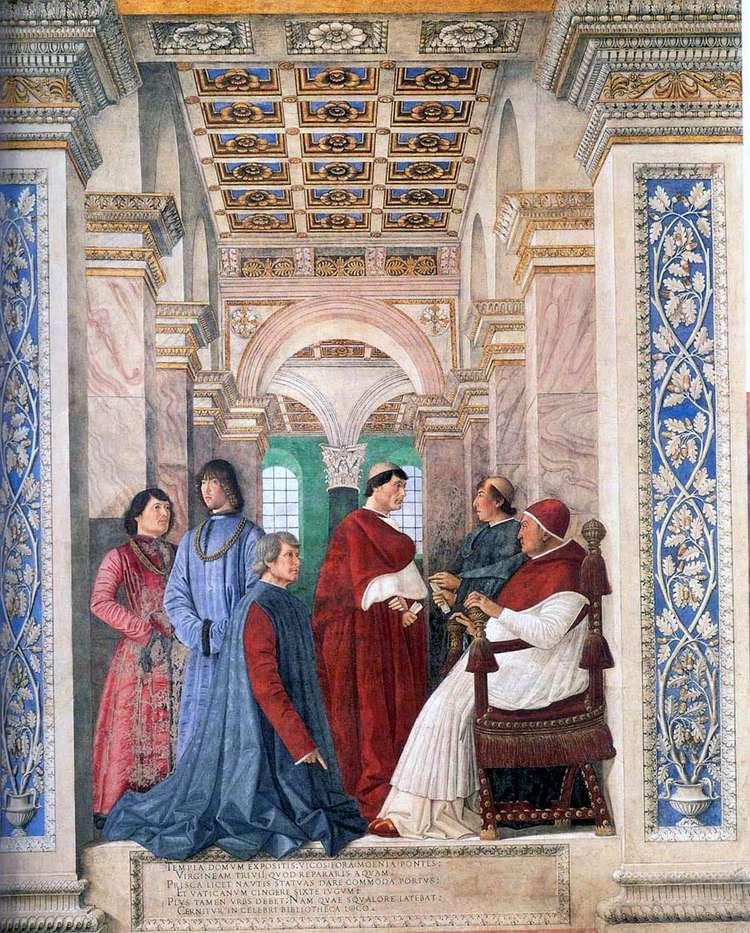Папа Сикст IV назначает Платину хранителем Ватиканской библиотеки   Мелоццо да Форли