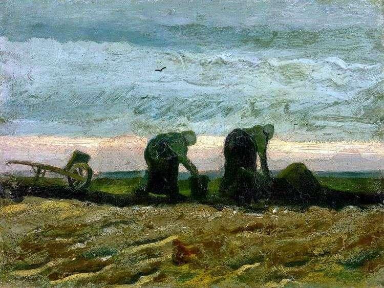Две женщины на вересковой пустоши   Винсент Ван Гог