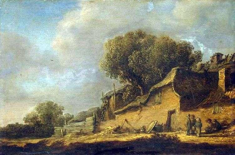 Пейзаж с крестьянской хижиной   Ян ван Гойен