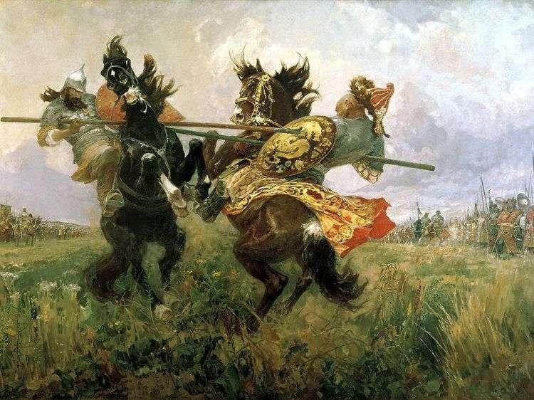 Поединок Пересвета с Челубеем на Куликовом поле   Михаил Авилов
