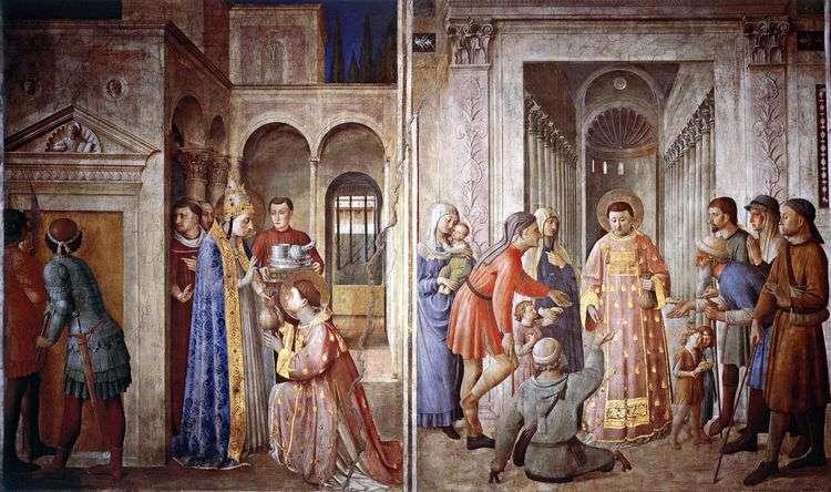 Святой Лаврентий, принимающий сокровища церкви и раздающий их нищим   Анджелико Фра