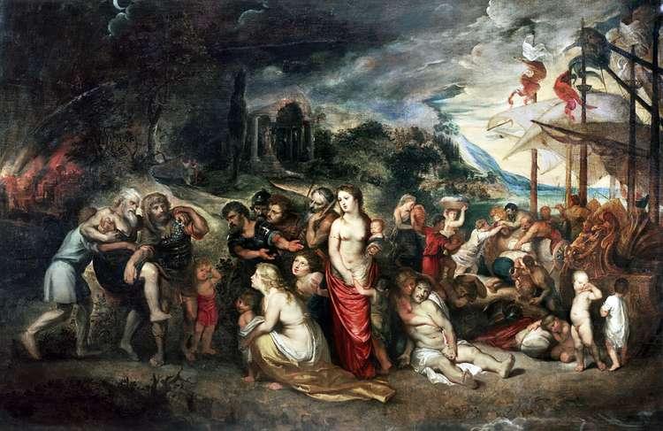 Эней и его семья бегут из Трои   Питер Рубенс