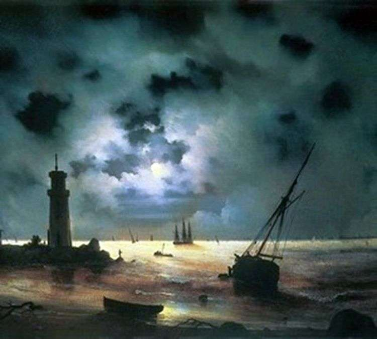 Берег моря ночью. У маяка   Иван Айвазовский